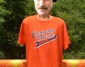 vintage 80s t-shirt GRADING carmon west orange purple baseball team uniform tee XXL xl soft thin