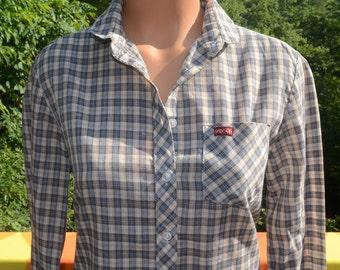 vintage 70's blouse SASSON plaid preppy button down shirt round collar women Medium 80s