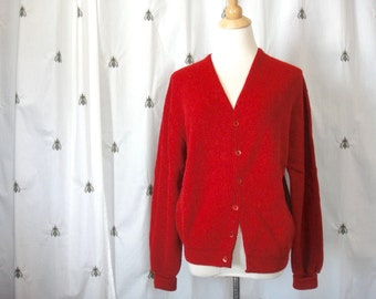 NOW ON SALE! Vintage Red Cardigan Golf Sweater, Country Club, Size Large, From the 1180 Collection, Men or Women, Unisex