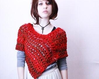 Red Ridding scarf asemetrical vegan poncho shawl poppy red brown