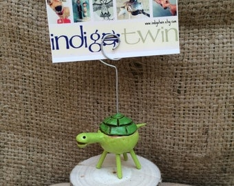 Tiny Green Turtle Ornament clay ornament card holder photo holder made to order