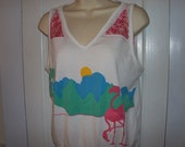 Vintage 80's Pink Flamingo Tank Top Size M/L recycled upcycled DIY