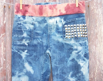 Size XS Bleached & Studded Denim Maternity Capri Pants Recycled Upcycled DIY