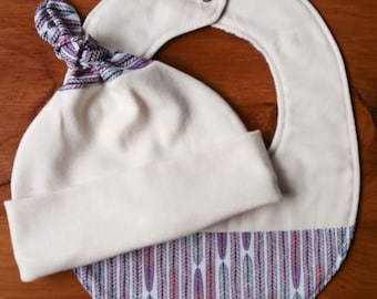 Organic Baby Hat and Bib Gift Set in PLUME; Pink, Purple and Grey Newborn Baby Cap and Drool Bib Gift Set by Organic Quilt Company