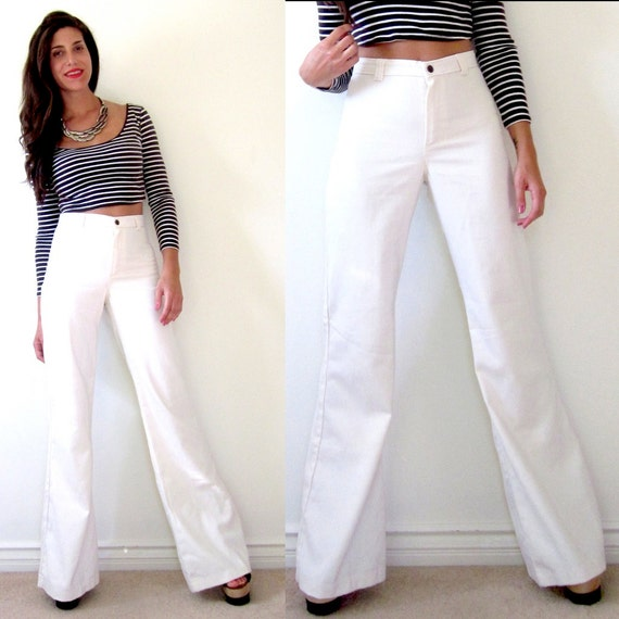 Vintage 70s DO IT High Waisted White Bell Bottom Flared Jeans