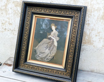 Vintage Antique 1888 French Napoleon III /Victorian deep black wood Gilted /portrait of a lady inside