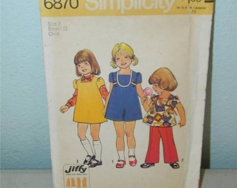 Vintage Simplicity 6870 Toddler Pattern Size 2 Girl Dress Top Pants 11080