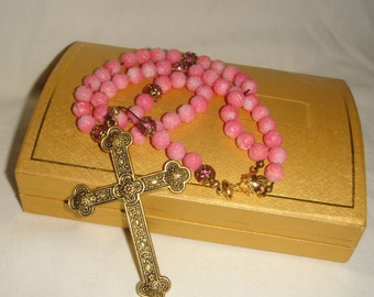 Medieval Style Pink Coral Rosary   inv1056