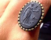 Goddess Ceres Demeter Black Glass Cameo Adjustable Ring