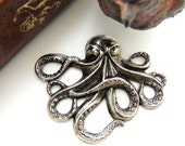 SILVER Sea Creature Octopus Stamping ~ Jewlery Antique Silver Findings (E-24) #