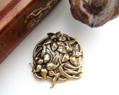 Flowers in Circle Antique Antique Ox Brass Stampings - Jewelry Ornament Finding (FA-6104) #