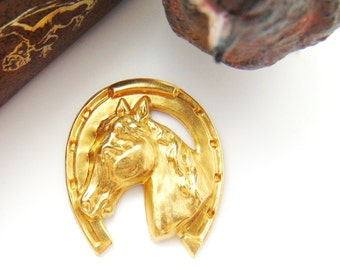 CLOSEOUT * Brass Large Horse In Horseshoe Stamping ~ Jewelry Ornament Findings ~ Brass Stamping (FB-6031)