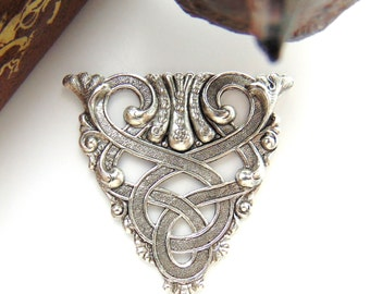 Silver CREST - Scroll Celtic Stamping - Jewelry Antique Silver Findings (CB-3061) #