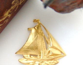 BRASS 2 - Nautical Sailboat - Boat Brass Stamping - Jewelry Findings (FB-6075) #