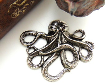 ANTIQUE SILVER * Sea Creature Octopus Stamping ~ Jewelry Findings (E-24)