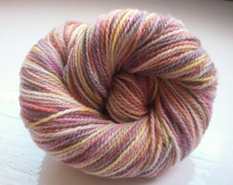 Hand painted shetland yarn dk yellow, chocolate, beige, pink, 80g by SpinningStreak