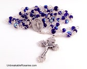 Miraculous Medal Rosary Beads In Cobalt Blue AB Czech Glass Wire Wrapped by Unbreakable Rosaries