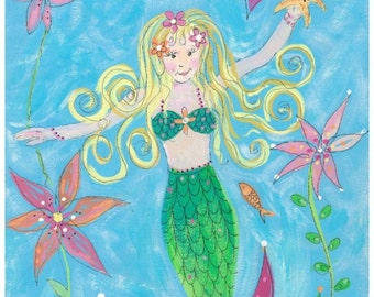 Matted Mermaid print 12 x 16