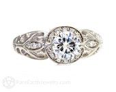 Vintage Engagement Ring Diamond Halo Moissanite Ring Custom Art Nouveau Bridal 14K or 18K Gold Wedding Ring