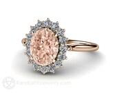 18K Morganite Engagement Ring Diamond Halo Morganite Ring Oval Cluster White Yellow or Rose Gold