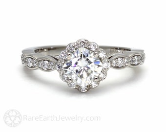 14K Moissanite Engagement Ring Diamond Halo Cushion Cut Conflict Free Moissanite Ring