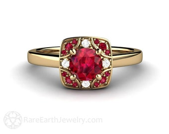 Vintage Ruby Ring Art Deco Design with Diamonds Antique Ruby Engagement Ring Right Hand Ring