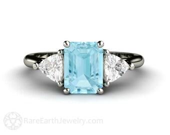 Aquamarine Ring Aquamarine Engagement Ring 3 Stone Emerald Cut Aqua Ring 14K or 18K Gold Blue Gemstone Ring March Birthstone