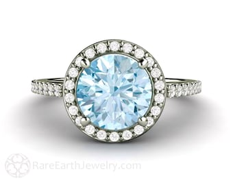 Aquamarine Ring Aquamarine Engagement Ring 14K or 18K Gold Diamond Halo Blue Gemstone Ring March Birthstone