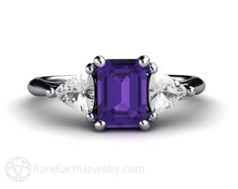 Amethyst Engagement Ring 3 Stone Amethyst Ring Conflict Free Diamond Trillions Amethyst Birthstone Gemstone Ring