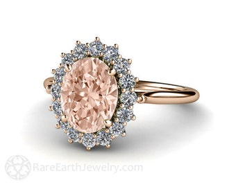 18K Morganite Engagement Ring Diamond Halo Morganite Ring Oval Cluster White Yellow or Rose Gold