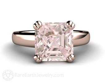 3ct Asscher Morganite Ring Morganite Engagement Ring Solitaire 14K White Yellow Rose Gold or Palladium