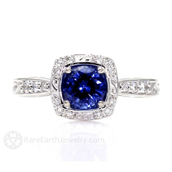 Art Nouveau Blue Sapphire Engagement Ring Diamond by RareEarth