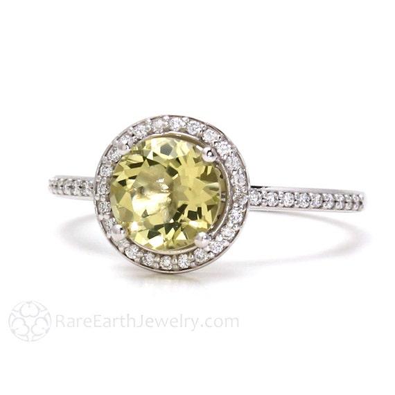 Lemon Quartz Ring Diamond Halo Engagement Ring 14K or 18K Gold Yellow Stone Ring Custom Bridal Jewelry