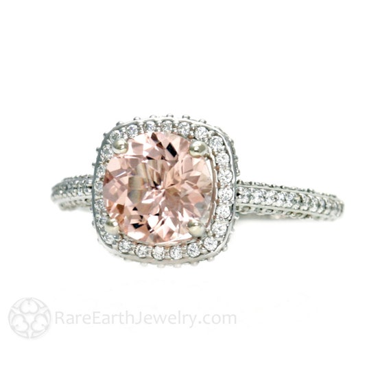 14K Morganite Engagement Ring Diamond Halo Setting Morganite Ring 14K 18K White Yellow Rose Gold Platinum Bridal Jewelry