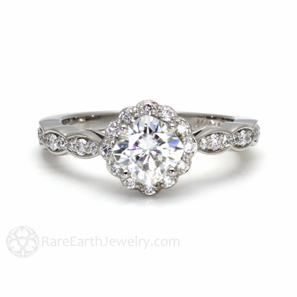 14k moissanite engagement ring halo cushion cut