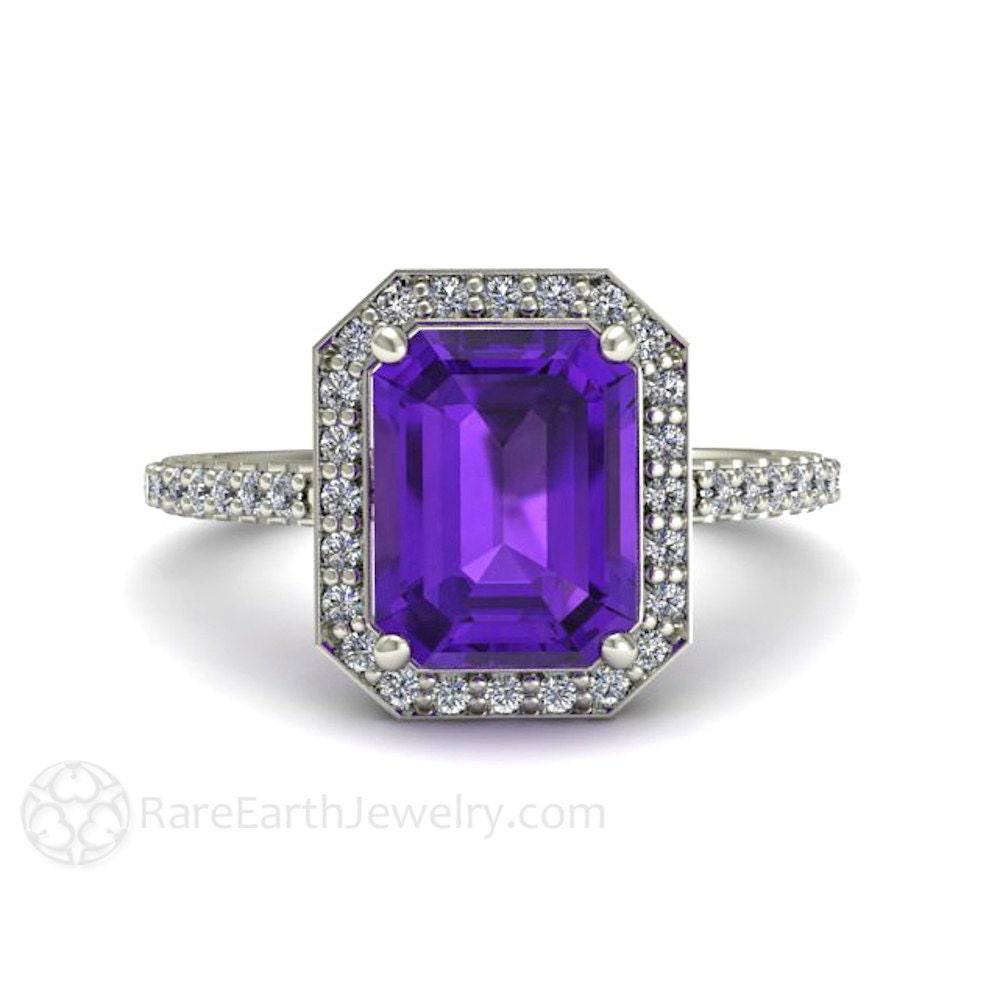 Amethyst Engagement Ring Amethyst Ring Emerald Cut Diamond