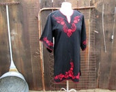 60s Vintage Boho Black Mexican Blouse Red floral embroidery vintage black boho tunic S M