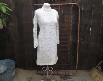 Vintage Lace Dress White 60s Mini dress Vintage Wedding white lace mini Vintage Bridesmaid Dress S M