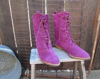 Wild 80s Purple Suede Vintage Boots leather lace up boots Purple ankle Boots made in Italy 7.5