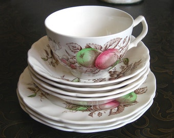 Johnson Brothers Harvest Time Dishes - Ironstone Made in England 1967-78 - 4 Berry Bowls - 3 Dessert Bread Plates - 1 Coffee Cup -