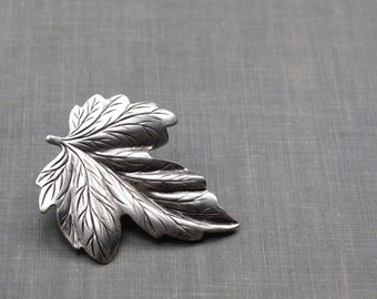 Leaf hair clip barrette bridal woodland wedding hair accessory antiqued silver goddess