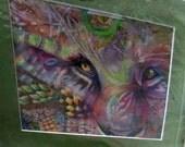 sale original art color pencil  drawing 11x14 lion face zentangle design abstract