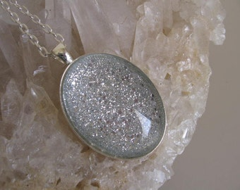 Oval Glitter Pendant - FREE Ring Included -Silver