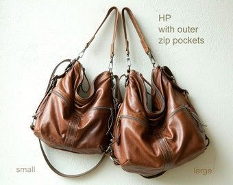 leather backpack purse HOBO PACK in soft lightweight saddle leather - crossbody bag - with two outside zip pockets - select size