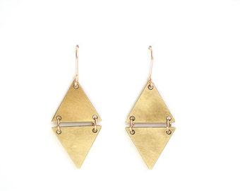 Split Triangle Diamond Earrings - Gold or Silver