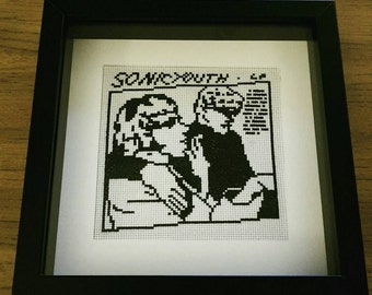 Sonic Youth 'Goo' cross stitched framed album cover