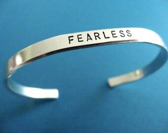 Fearless Bracelet - Personalized Bracelet - Fearless Cuff Bracelet - 1/5 inch cuff