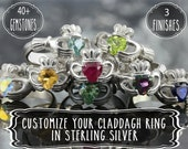 Personalize your own claddagh ring in sterling silver - Pick your gemstone -