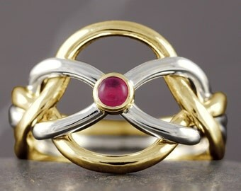 Ruby celtic knot puzzle ring in solid gold 10kt 14kt 18kt white rose yellow