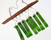 Recycled wine bottle glass windchime with hand crafted copper wire leaves on cedar wood